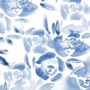 Indigo roses garden, larger scale • watercolor florals