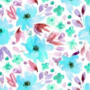 Sweet spring in aqua • watercolor flowers
