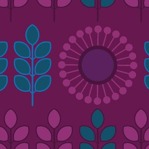 Modern Floral in 70s Jewel-Tone Colors