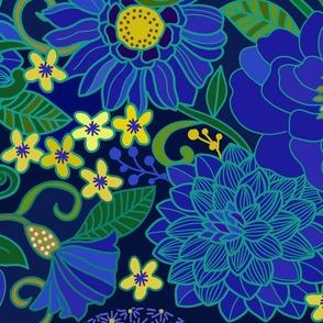 1970s Floral Sapphire Large