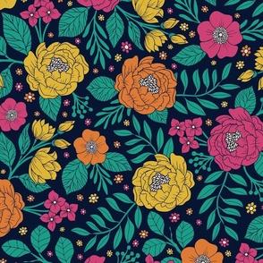 Bright Yellow, Orange, Hot Pink & Teal Floral Pattern