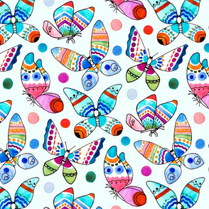 Jewel Tone Watercolor Butterflies (Large Version)