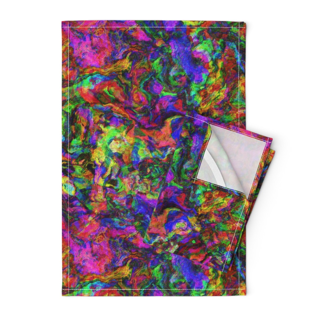 Orpington Tea Towels featuring SEVENTIES JEWELS COLORS ABSTRACT 2 70 PSMGE by paysmage