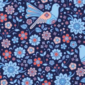retro flowers with doves