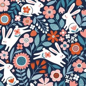 Rabbits' Wonderland / Navy / Small Scale