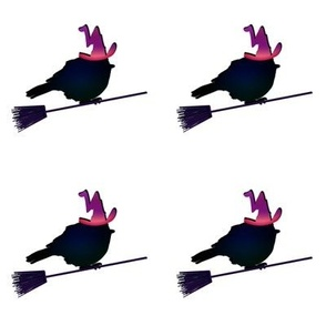 Birds on Brooms with Witches Hats