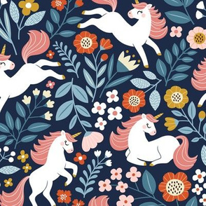 Floral Unicorn / Navy / Small Scale