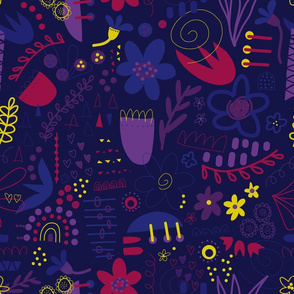 Purple Abstract Doodle Flowers
