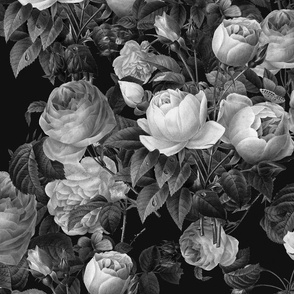Deep Black and White Floral