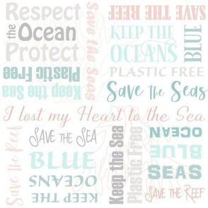 Save the Reef Save the Oceans Lettering Aqua