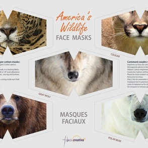 Animal Face Masks Wildlife of America Bears Wolf Cougar Mountain Lion Jaguar