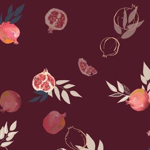 Pomegranates on bordo