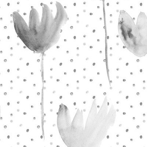 Noir dainty flowers with dots • larger scale • watercolor flowers in shades of grey