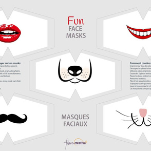 Fun face masks with lips mustache cat and dog snouts
