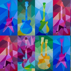 Colorful Hand Painted Electric Guitars in Polygonal Style