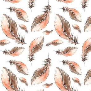 Natural Watercolor Brown Feathers