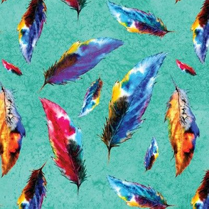 Bright Watercolor Boho Style Tropical Feathers