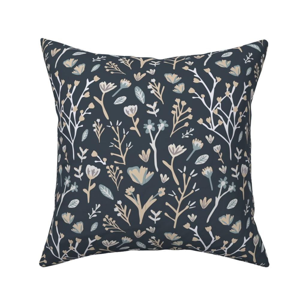 Catalan Throw Pillow featuring Blue Flower Field by jillianhelvey