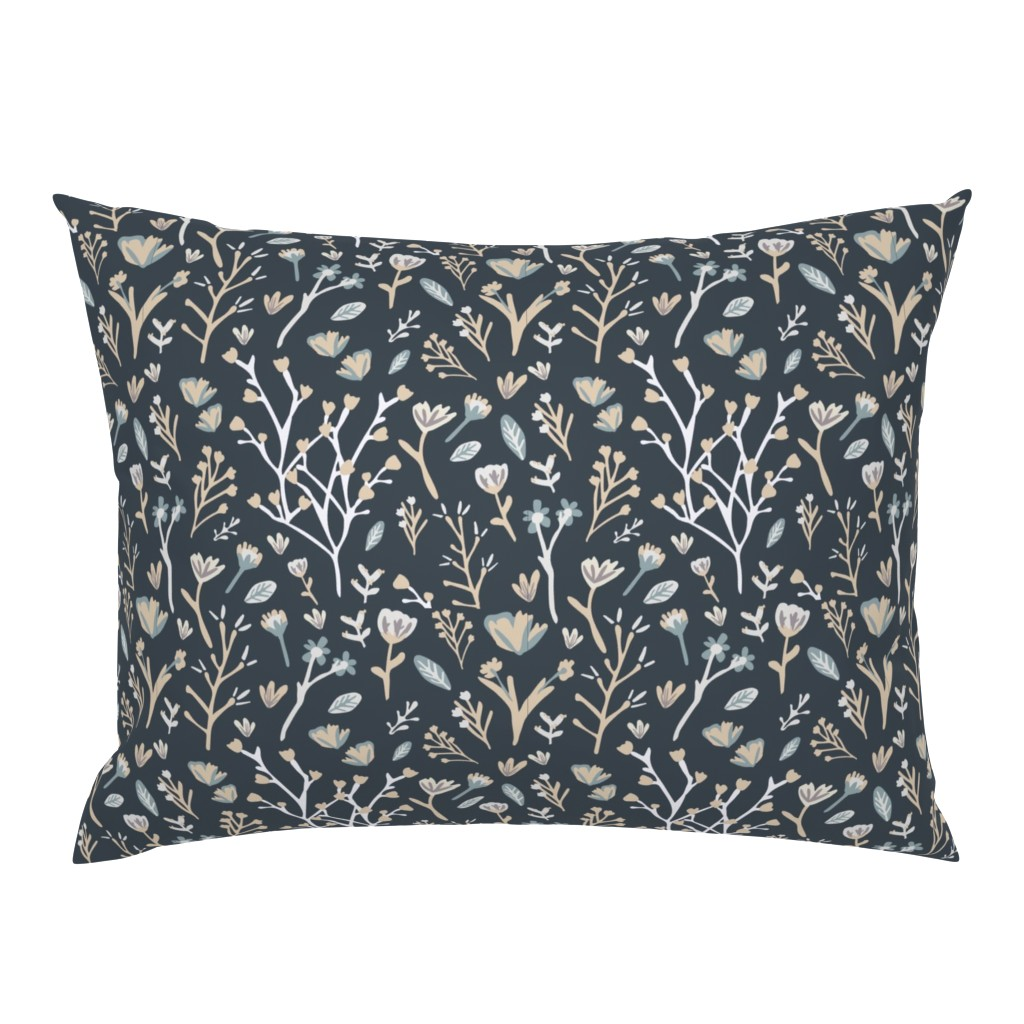 Campine Pillow Sham featuring Blue Flower Field by jillianhelvey