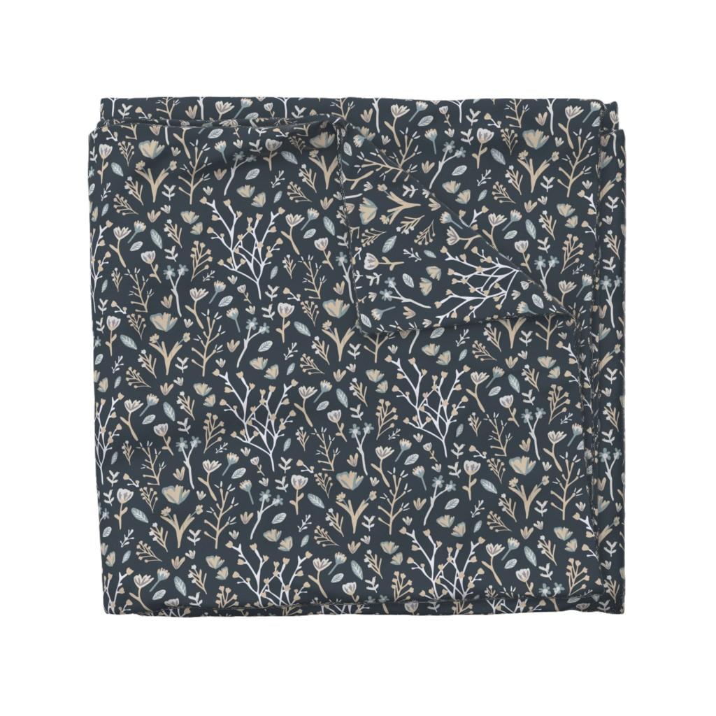 Wyandotte Duvet Cover featuring Blue Flower Field by jillianhelvey