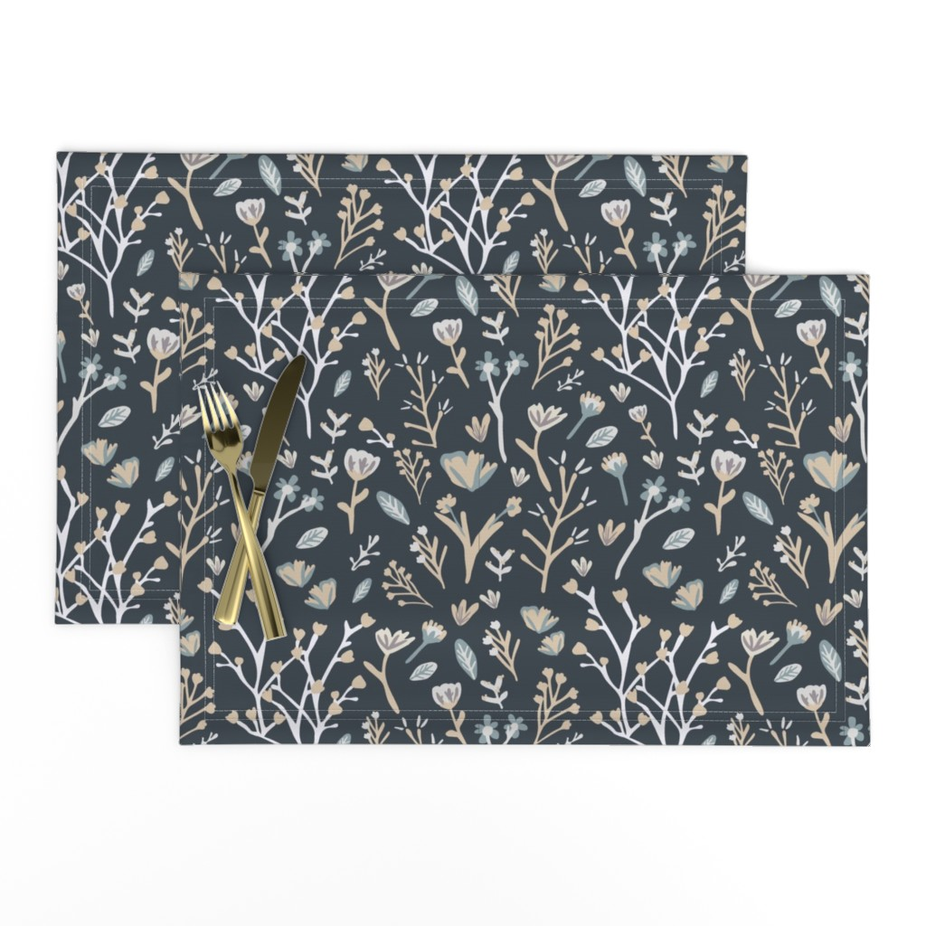 Lamona Cloth Placemats featuring Blue Flower Field by jillianhelvey