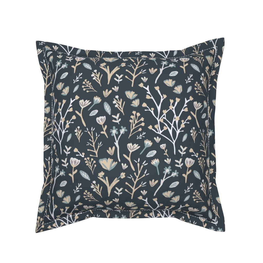 Serama Throw Pillow featuring Blue Flower Field by jillianhelvey