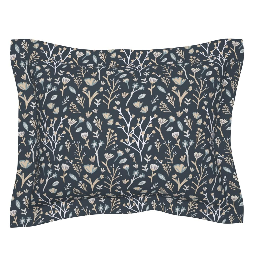 Sebright Pillow Sham featuring Blue Flower Field by jillianhelvey