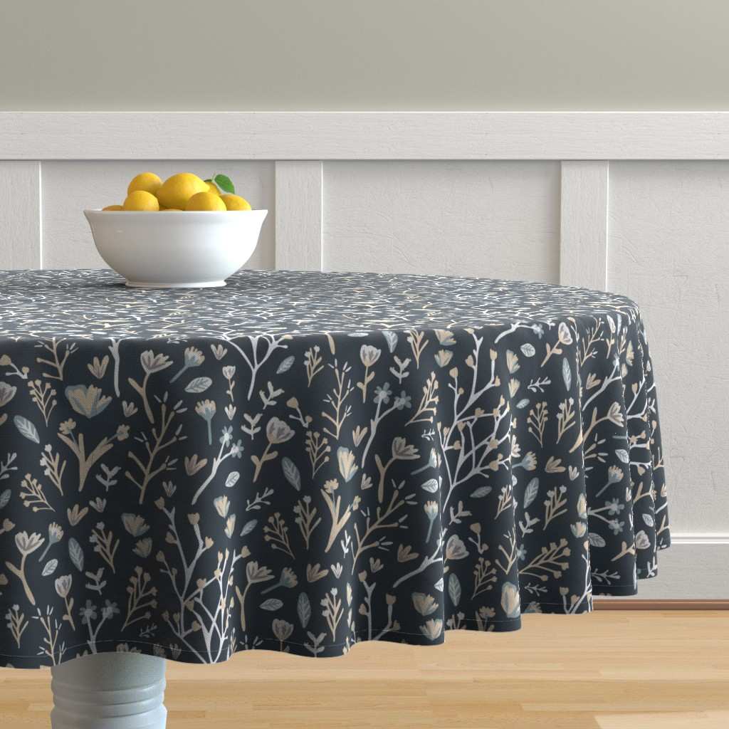 Malay Round Tablecloth featuring Blue Flower Field by jillianhelvey