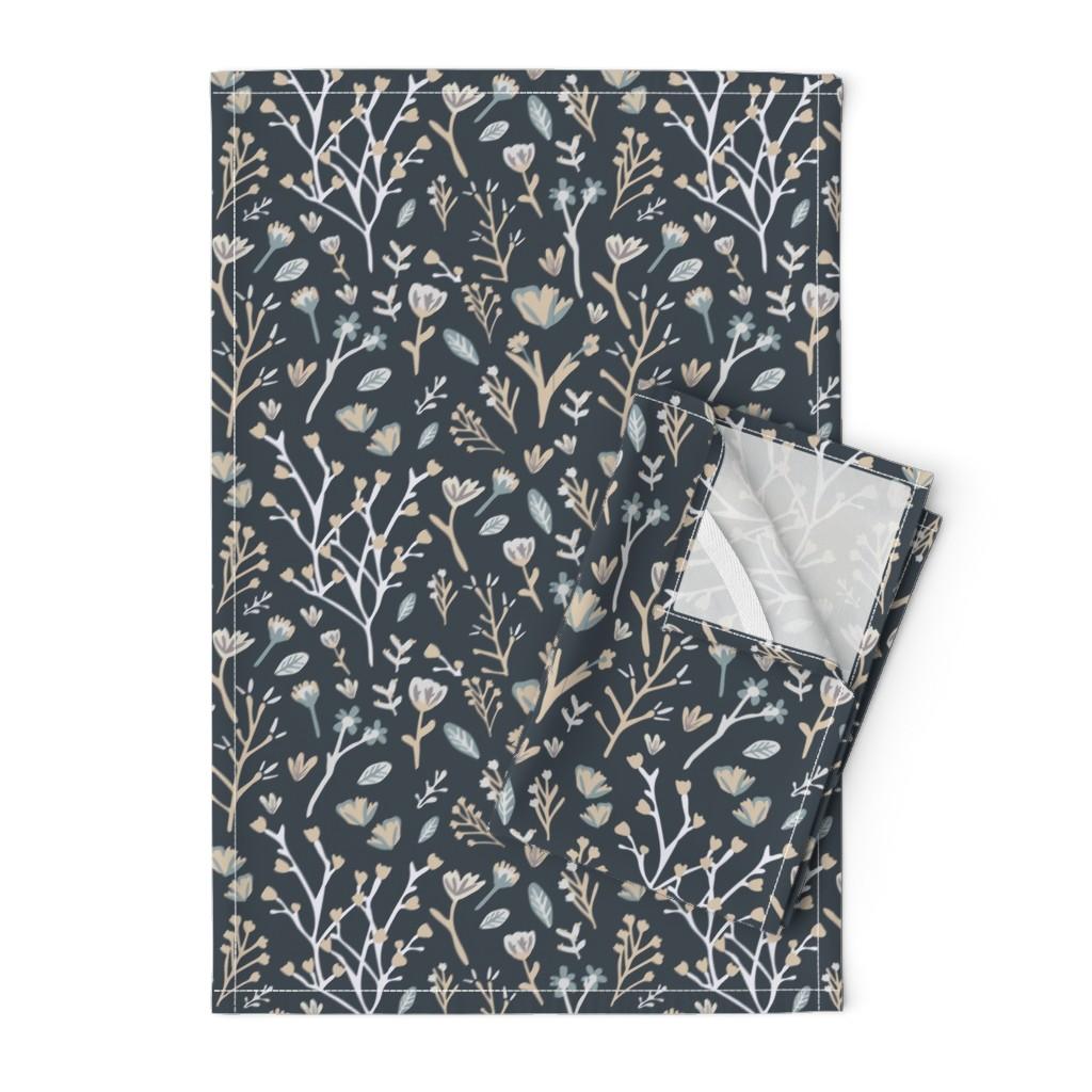 Orpington Tea Towels featuring Blue Flower Field by jillianhelvey