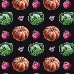 3d Hand Drawn Autumn Harvest Miniatures on Black Background
