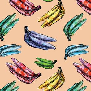 Funky Sunny Colorful Watercolor Bananas