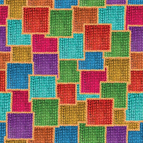 Hand drawn cute knitted patchwork design