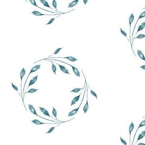 Green watercolor leaf wreath