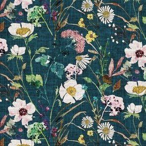 Verdure Wildflowers (teal) LRG