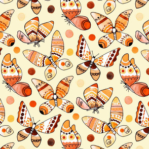 Earth Toned Watercolor Butterflies (Large Version)