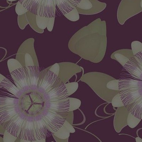 passion flower pattern - dark and muted