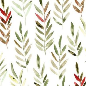 Watercolor leaves in khaki and bordeaux red