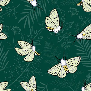 Butterflies on midnight green