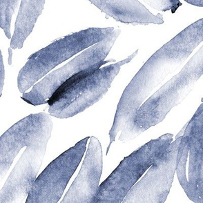 Indigo nature delight • watercolor blue leaves for modern home decor