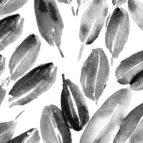 Noir nature delight • watercolor leaves in shades of grey for modern home decor