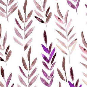 Magic leaves in burgundy and purple • watercolor nature for modern home decor