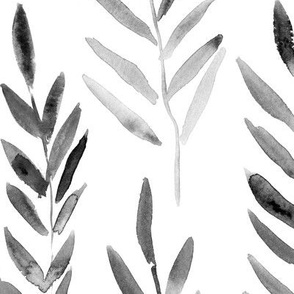Noir magic leaves • large scale watercolor grey branches for modern home decor