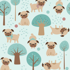 pugs in the park on green