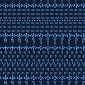 Indigo blue flower motif Japanese style. pattern. Hand drawn dyed floral damask textiles. Decorative art nouveaux home decor. Modernist trendy monochrome all over print. Seamless vector swatch.