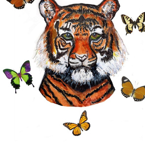 tiger with butterflies on white