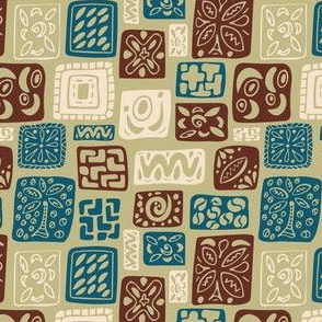 Little Boxes-Vintage-limited palette: brown, cream, & teal on camo green *small version