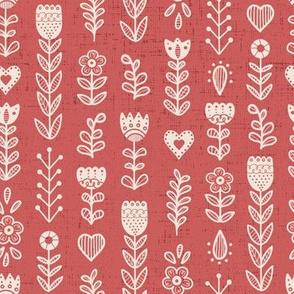 Folk Art Flowers- Red // hand drawn scandinavian folk art floral flower pattern fabric