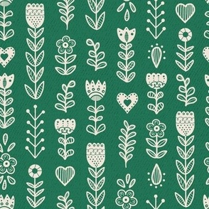 Folk Art Flowers- Green // hand drawn scandinavian folk art floral flower pattern fabric