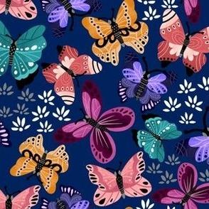 Colorful Butterflies V3-Blue