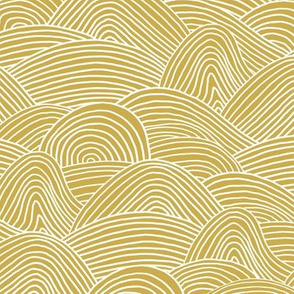 Ocean waves and surf vibes abstract salty water minimal Scandinavian style stripes ochre yellow